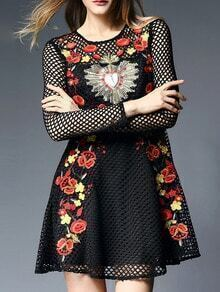 Black Embroidered Hollow A-Line Dress