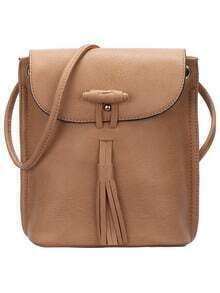 Khaki Tassel PU Satchel Bag
