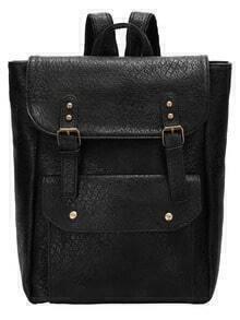Black Buckle Magnetic PU Backpack