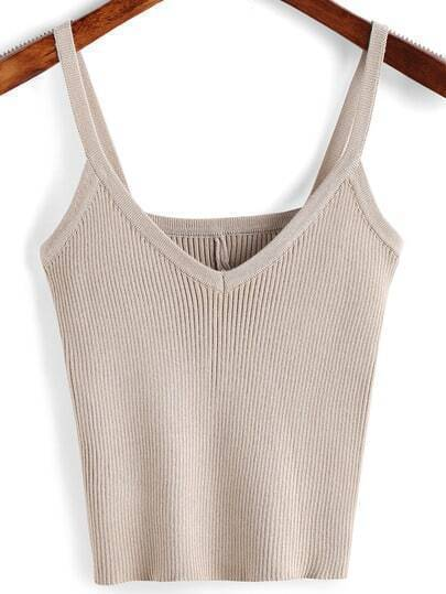 Apricot V Neck Ribbed Cami Top