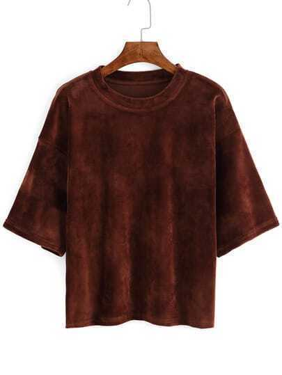Khaki Dropped Shoulder Seam Velvet T-shirt
