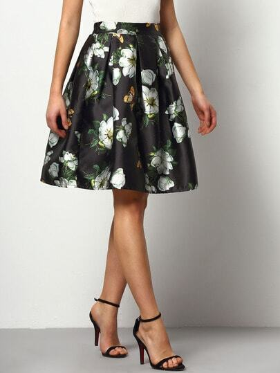 Black Florals Flare Skirt With Elastic Waist