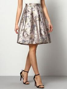 Multicolor Florals Flare Skirt With Elastic Waist