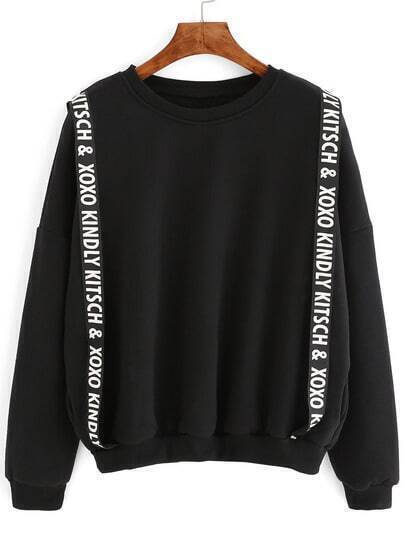 Black Dropped Shoulder Seam Sweatshirt With Straps