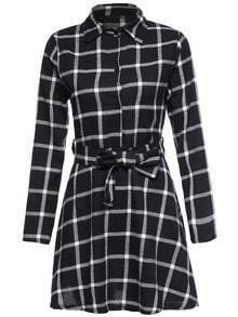 Black Plaid Shirt Dress With Belt