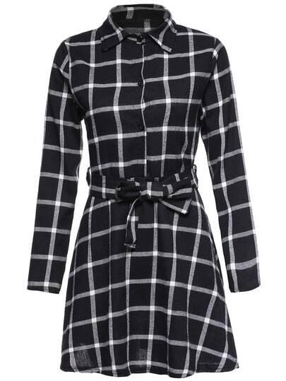 Black Plaid Shirt Dress With Belt