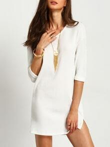 White Split Ribbed Sweater Dress