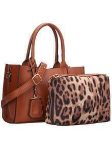 Brown PU Bag With Leopard Small Bag