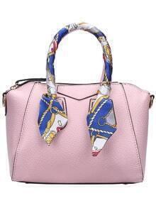 Pink Zipper PU Cross Body Bag