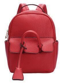 Red Zipper PU Backpack