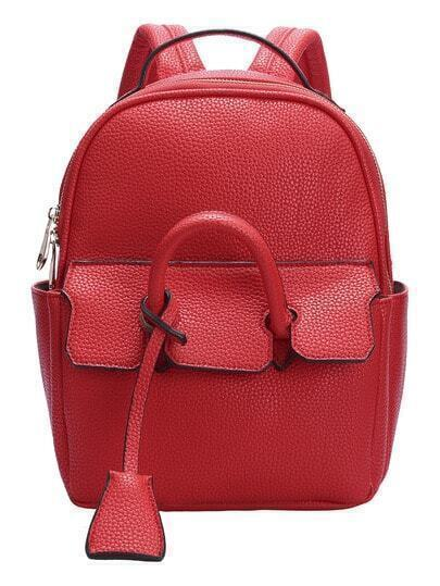 Red Zipper PU Backpack