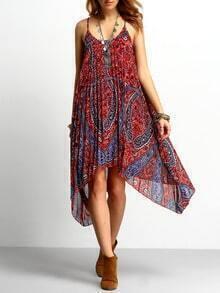 Red Spaghetti Strap Paisley Print Asymmetrical Dress