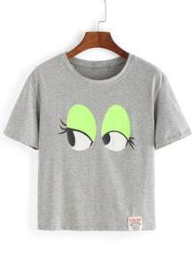 Grey Eye Print T-Shirt