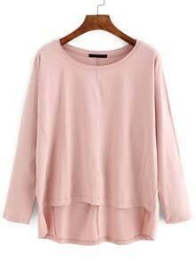 Pink Dip Hem Dropped Shoulder Seam T-Shirt