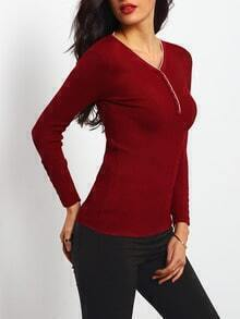 Red V Neck Ribbed Slim Sweater With Buttons