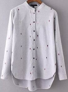 Grey Stand Collar Drop Embroidered Dip Hem Blouse