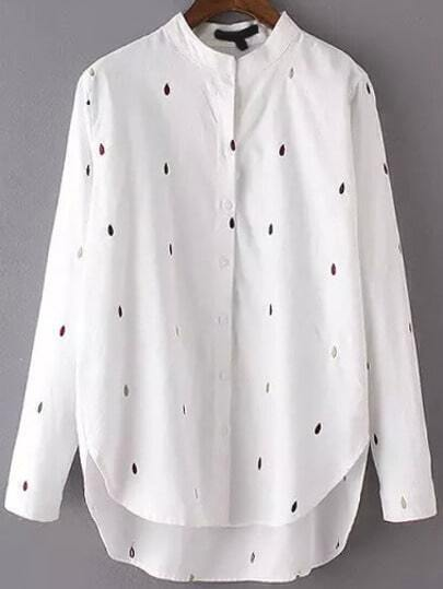 White Stand Collar Drop Embroidered Dip Hem Blouse
