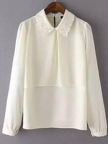 Beige Embroidered Collar Bead Loose Blouse