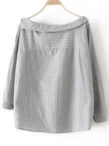 Grey Boat Neck Buttons Striped Blouse