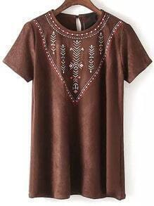 Brown Short Sleeve Embroidered Suede Dress