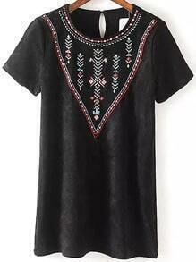 Black Short Sleeve Embroidered Suede Dress