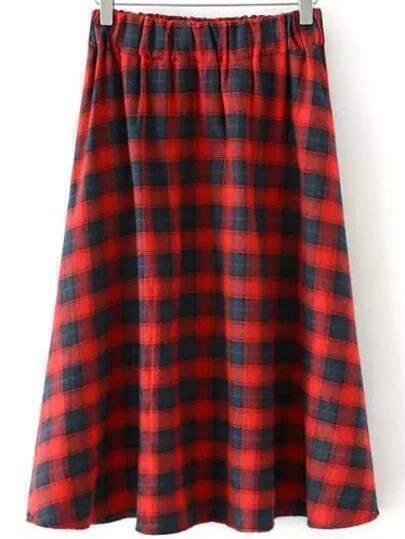 Red Elastic Waist Plaid Skirt