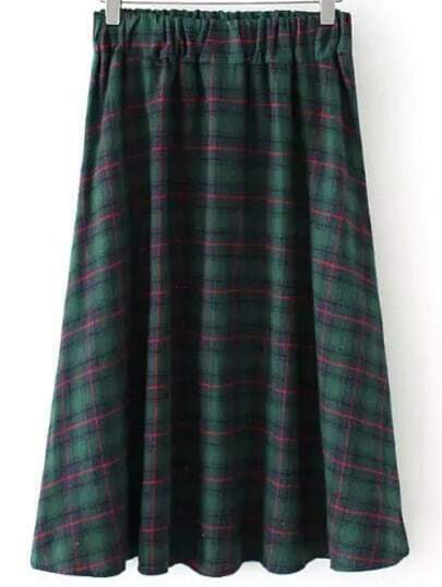 Green Elastic Waist Plaid Skirt