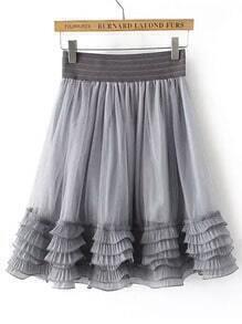 Grey Cascading Ruffle Mesh Skirt