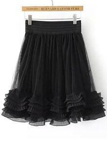 Black Cascading Ruffle Mesh Skirt