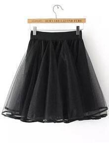Black Sheer Mesh Flare Skirt