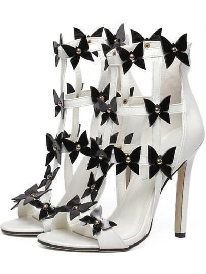 White Peep Toe Bow High Stiletto Heel Sandals