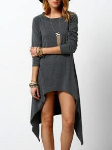 Grey Round Neck Long Sleeve Asymmetrical Dress