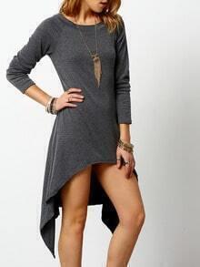 grey round neck long sleeve asymmetrical dress shein