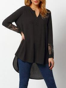 Black V Neck Lace Split Sleeve Dip Hem Shirt Dress