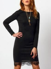 Black Long Sleeve Lace Slim Dress