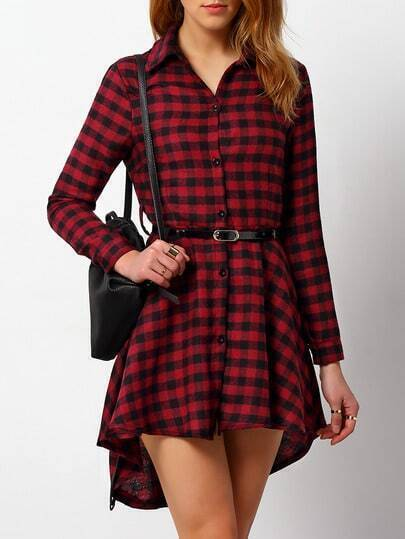 Red Black Long Sleeve Plaid Shirt Dress