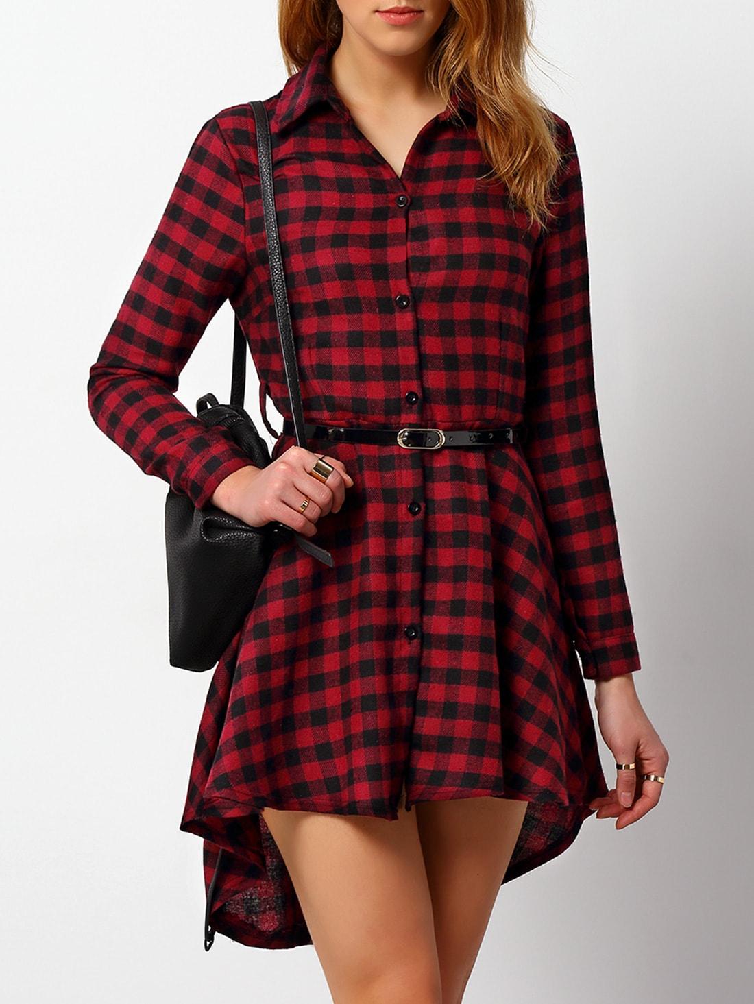 Платье рубашка красная клетка