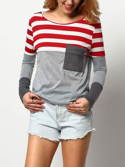 Contrast Striped Pocket T-Shirt