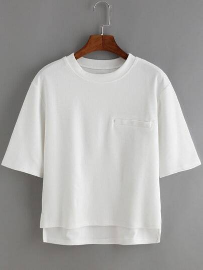White Ribbed Pocket T-shirt