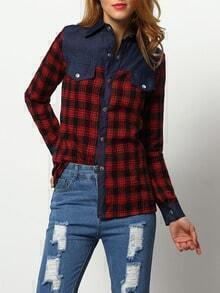 Multicolor Long Sleeve Plaid Denim Blouse