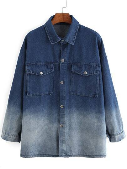 Blue Ombre Long Sleeve Pockets Denim Blouse