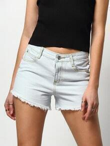 Blue Pockets Fringe Denim Shorts