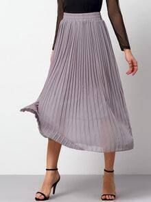 Grey Elastic Waist Pleated Chiffon Skirt