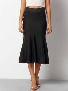 Black Slim Fishtail Skirt