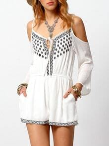 White Cold Shoulder Embroidered Slim Dress