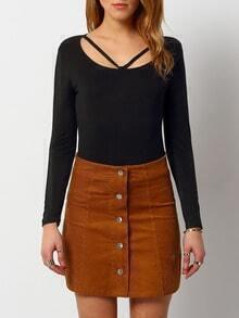 Black Long Sleeve Slim Crop Knitwear