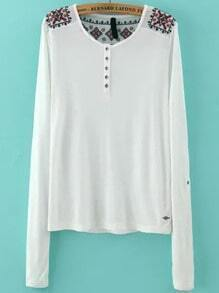 White Long Sleeve Buttons Embroidered T-Shirt