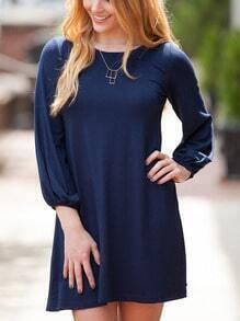 Navy Round Neck Loose T-Shirt Dress