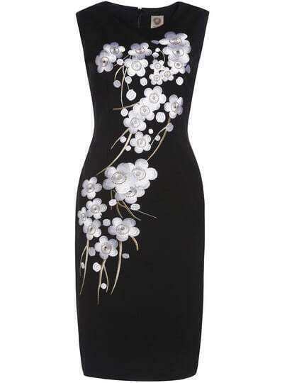 Black Crew Neck Sleeveless Embroidered Sheath Dress