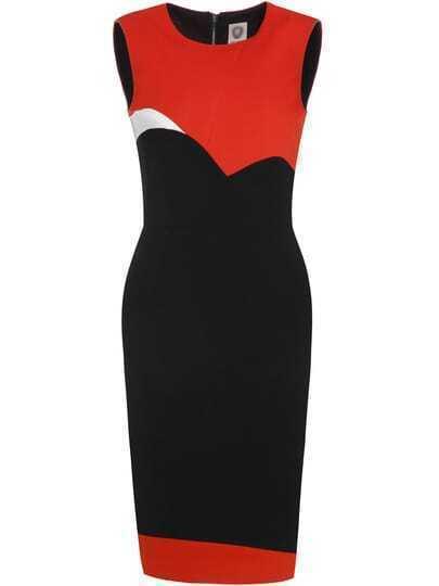 Black Orange Color Block Sheath Dress